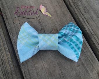 Blue Plaid Bow Tie, Bow Tie Photo Prop