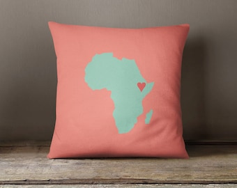 Custom African Map Throw Pillow and Cover-Coral-Cayenne-Pool-Customize with ANY Colors-Available in 14x14-16x16-18x18-20x20-14x20-26x26