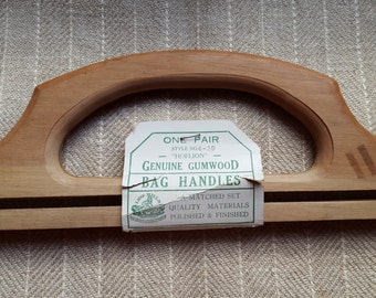 Vintage Wood Bag Handles - Unused w/Tag