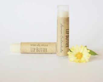 Lemon Calendula Lip Butter, Botanically Infused Shea Butter Lip Balm, Herbal Lip Balm