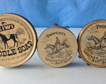 Old Equestrian TINS Saddle Soap Properts Kiwi tan horse logo vintage leather cleaner empty