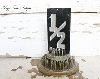 Vintage Metal Gas Station Sign Numbers Industrial Salvage Farmhouse Decor  Fixer Upper Decor
