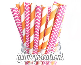 Pink and Orange Party | Paper Straws | Pink and Orange | Pink Paper Straws | Orange Paper Straws | 1st Birthday Party | Drinking Straws