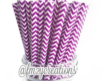 Chevron Purple Paper Straws, 25 Purple Chevron Straws, Cake Pops, Purple Weddings, Birthday Party, Purple baby shower, Party, Diy Flags