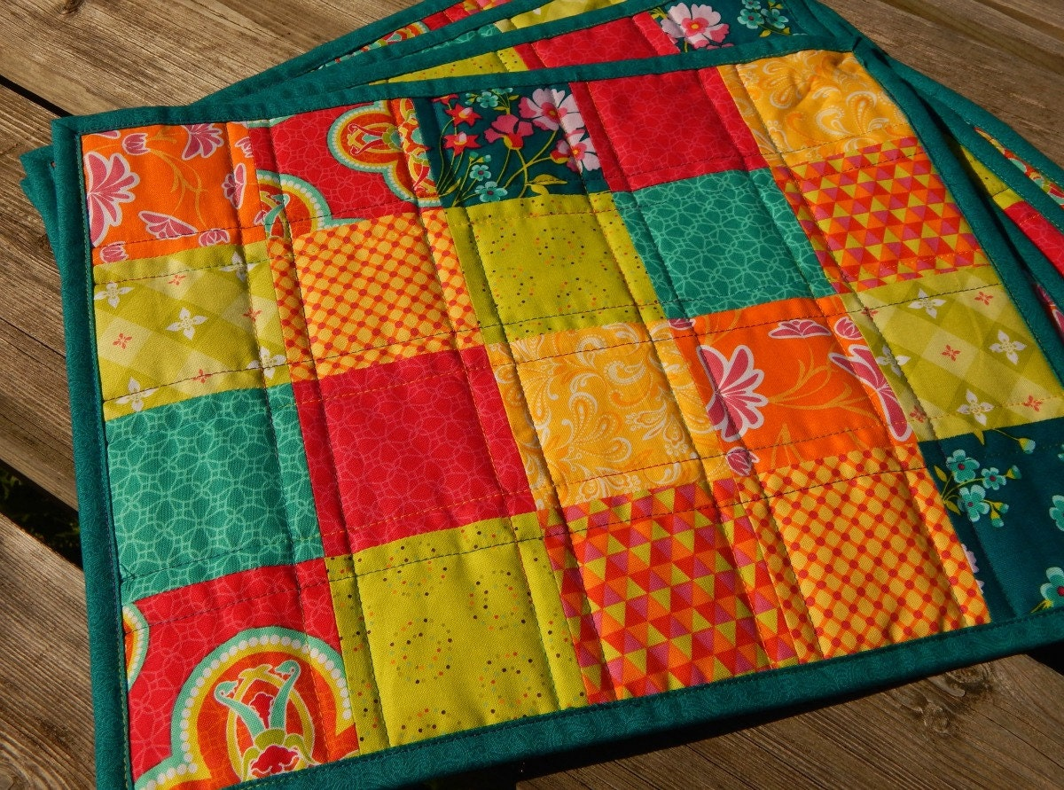 Bright Trendy Patchwork Quilted Placemats Set Of 4