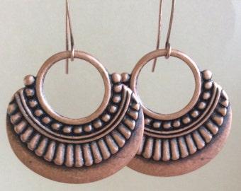 Copper Pendant Earrings  Bohemian Earrings  Oxidized Copper Earrings  Boho Earrings   Gypsy Dangles