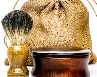 Shaving set Soap in Wood shaving Bowl + badger shaving brush. vintage Shaving kit - mens soap - mens gift ideas - Vegan soap - mens gifts