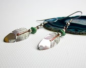 Earrings Vtg. Navajo Turquoise & Sterling Earrings w/ Copper Trim, Signed R.C. Native American, 1960s Southwestern USA.