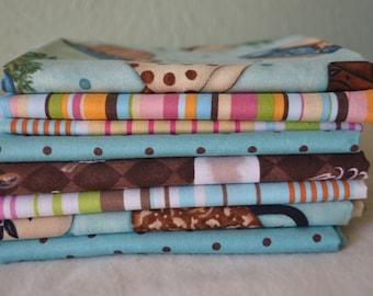 """Mixed Fat Quarter Lot of eight fabrics, Fat quarters, Eight fat quarters, 100% Cotton, Each Fabric 18"""" X 22"""", All quilting fabrics, destash"""