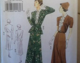 Vogue Original 1938 Design Dress Pattern 8767 Size: 14-20, or Size 8-14