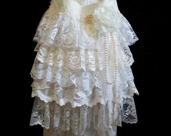 Ruffled Lace Shabby Chic Cross Body Bag - Romantic Lace Bag - Shabby Lace Bag -  Bohemian Gypsy Feminine Crossbody Purse