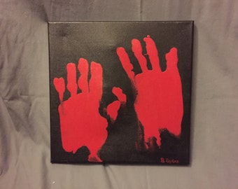 12 x 12 Acrylic Painting of Bloody Handprints