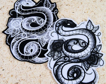 Snake Midnight Creatures Baroque Iron On Embroidery Patch MTCoffinz - Choose Size / Color