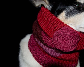 """Knitted Dog Scarf, Knitted Dog Cowl Double Layer for Warmth Size Medium Measures 15"""" Circumference by 12"""" Dress up your Pooch in Style"""