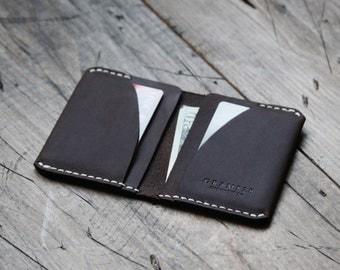 GRAMS28 / Four Pocket Leather DAY Wallet - slim wallet minimal leather wallet leather card holder, leather wallet - Deep Brown