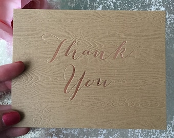 Stylish Thank You Cards {rose gold foil on kraft woodgrain cardstock}