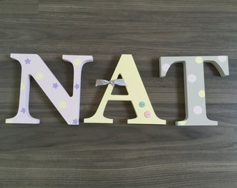 Personalised Wooden Letters/3 letter name /Free Standing Wooden/ Nursery Decor/Christening/New Baby