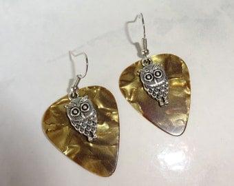 Owl Guitar Pick Earrings Brown Tortoise Finish Picks Handmade