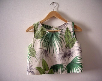 Tropical Leaves Printed Crop Top, Exotic Print Green Top, Jungle Print, Green Crop Top,  Made to Order.