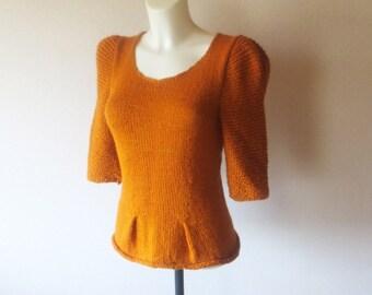 Elegant Hand Knit Sweater, Womens Sweater Pumpkin Colored