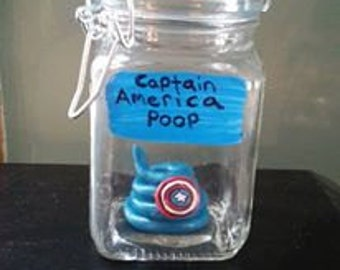Captain America Poop in a Jar/ Specimen Jar / Comic Book/ Unicorn poop/Fantasy Geekery Voodoo Zombie, Fairy, Oddities Shelf