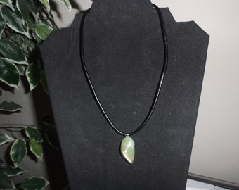 "Necklace 16"" long ""GREEN POLISHED STONE"" #291"