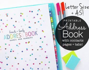 Address Book Printable Planner - Instant Download - Contacts, Lots of Dots