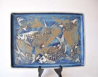 Rare! Royal Copenhagen - large tray - fish motif - 807/3445 - Nils Thorsson - Danish midcentury pottery