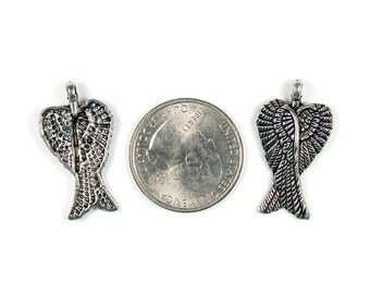 Antique Silver Double Angel Wing Charms 6 QTY