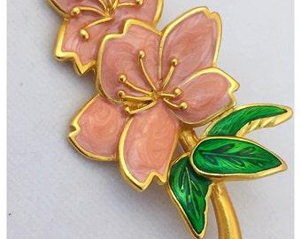 Pink Enamel Flower Brooch, pink Flower Pin