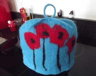 Made to order hand felted Tea Cosy with red poppies