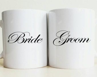 Bride and Groom Mug Set | Unique Wedding Gift | Custom Bride Gift | New Couple Gift | Gifts for Her | Husband Gift | Summer Wedding | Prop
