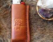 "handmade leather ""portly 'shroom"" bic lighter case cover, mushroom lighter cover"