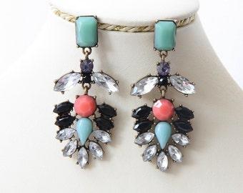 Party Earrings, Long Earrings, Bridal Crystal Earrings, Women's Jewelry