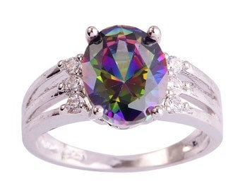 Gorgeous Rainbow Topaz / Cubic Zirconia Silver Ring Size 8 Perfect Gift