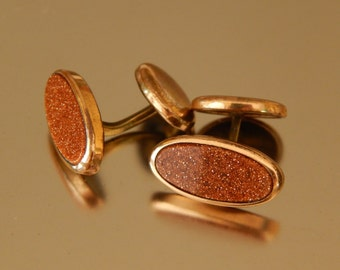 Antique Rose Gold Filled Goldstone Cuff Links C&C, Father's Day Gift, Victorian Edwardian Cufflinks, Wedding Cuff Links Groom