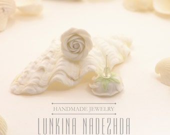 White polymer clay rose flower stud earrings beautiful bridal jewelry