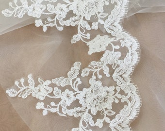 Cathedral veil lace trim , couture alencon lace trim in ivory , French cotton lace trim