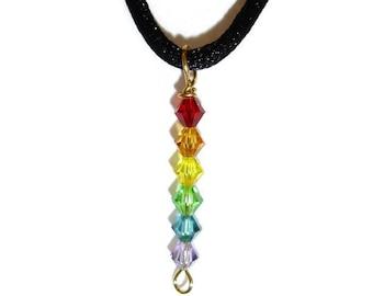 Gay pride necklace, rainbow necklace, rainbow beaded pendant necklace, gay pride, GLBT.
