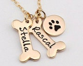 Gift for Pet Lover, Gold Dog Bone Necklace, Dog Paw Necklace, Pet Jewelry, Paw Print, Personalized Charm, Gold Stamped Jewelry, Mother's Day