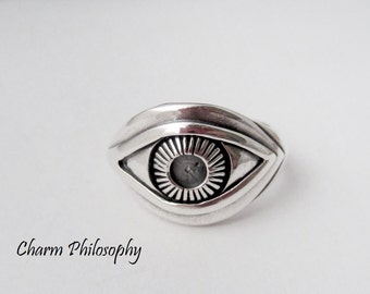 Eye Ring - 925 Sterling Silver Jewelry - Silver Human Eye Ring