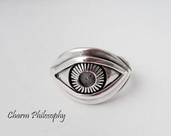 Eye Ring - 925 Sterling Silver Jewelry - Silver Human Eye Ring - Size 7