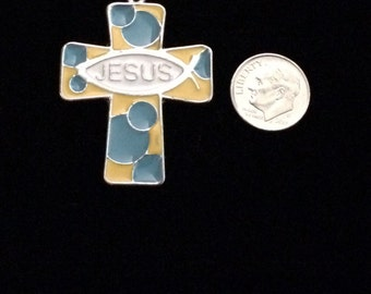 2 Pieces Colored cross charms Christian fish symbol with the word Jesus, email Mo coded silver cross charm , 47x35mm 31-3-E