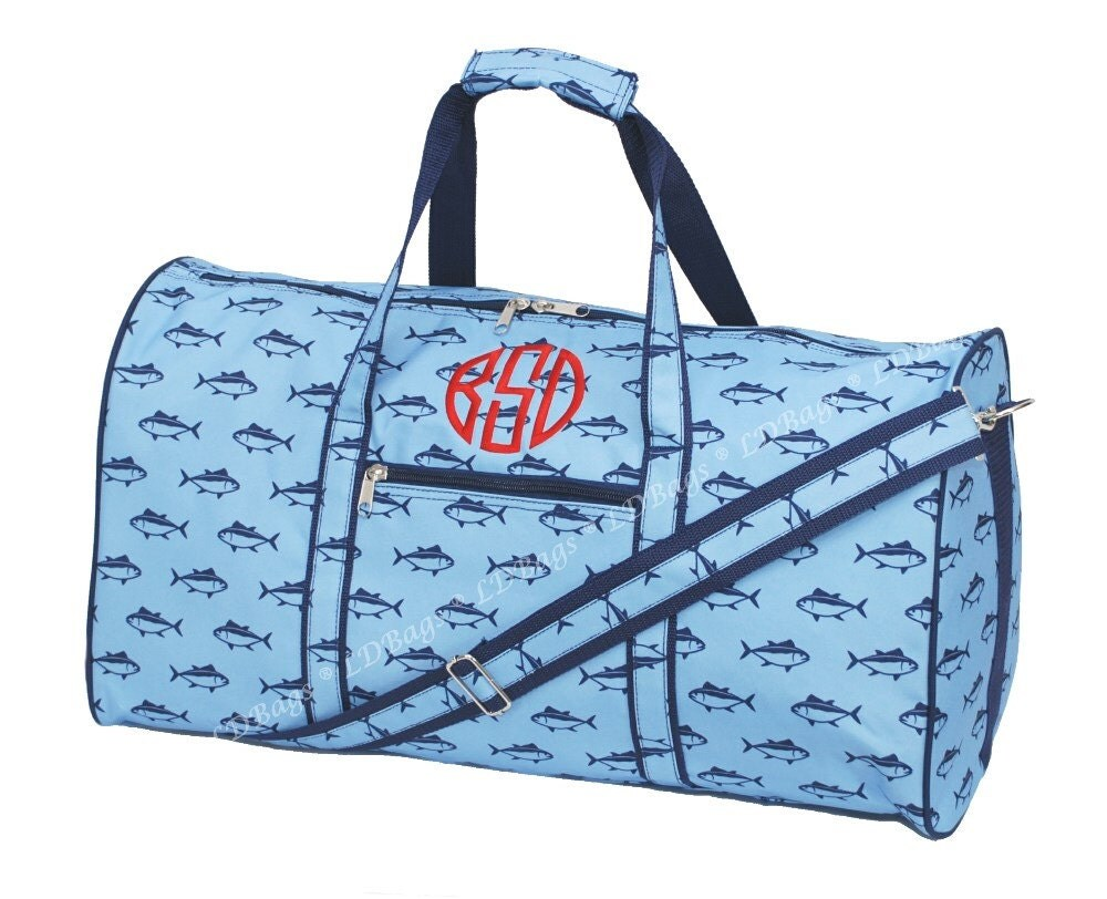 Personalized large blue fish duffle bag monogrammed