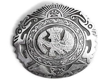 Pendant Peruvian Brooch Silver Sungod Vintage