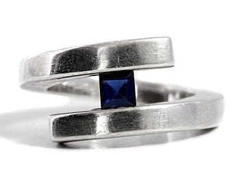 Ring Tension Sapphire Silver