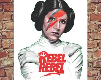 "Rebel Leia Star Wars Bowie Poster Print 12""x16"""