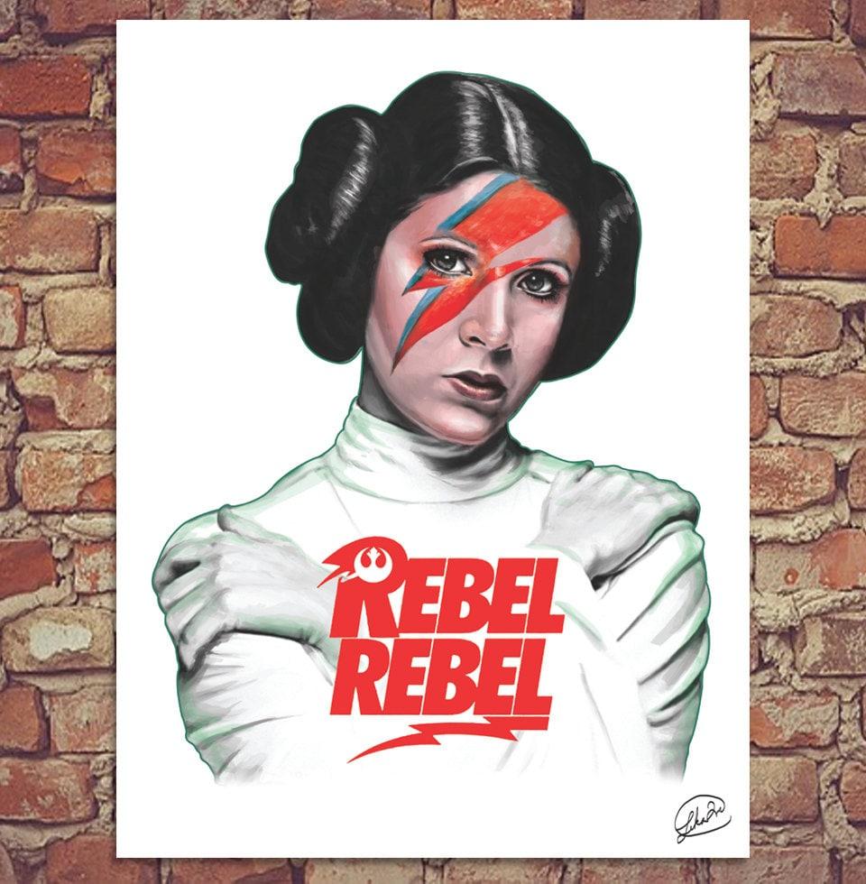 Rebel Leia Star Wars Bowie Poster Print 12x16 How Old Is Princess Leia In Star Wars Rebels