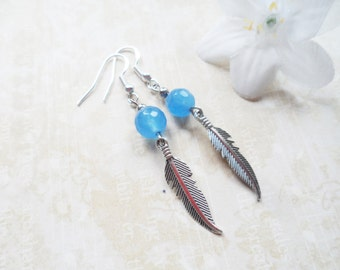 FREE SHIPPING! Silver feather earrings with blue jade beads, nature inspired jewelry, Selma Dreams jewellery gifts for her