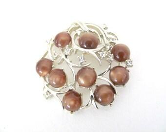 Vintage Brown Brooch, 1960's Coro Moonstone Brooch, Pin, Brown Moonstone Brooch, 1960's Brooch, Jewelry